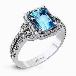 Simon G 18K White Gold Elegant Diamond Accented Ring With Aquamarine image 2