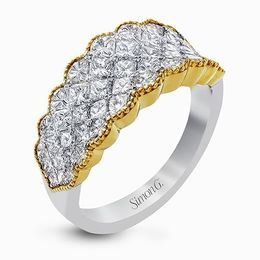 Simon G 18K White & Yellow Gold Impressive Ring With Princess Cut Diamonds image 2