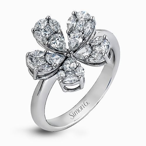 Simon G 18K White Gold Classic Floral Design Diamond Ring image 2