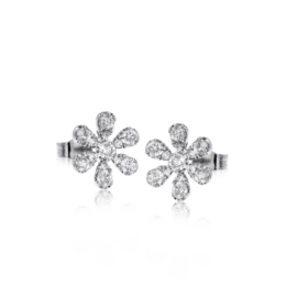 Zeghani 14K White Gold Diamond Flower Stud Earrings image 2