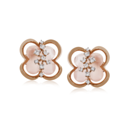 Zeghani 14K Rose Gold Diamond & Rose Quartz Flower Stud Earrings image 2