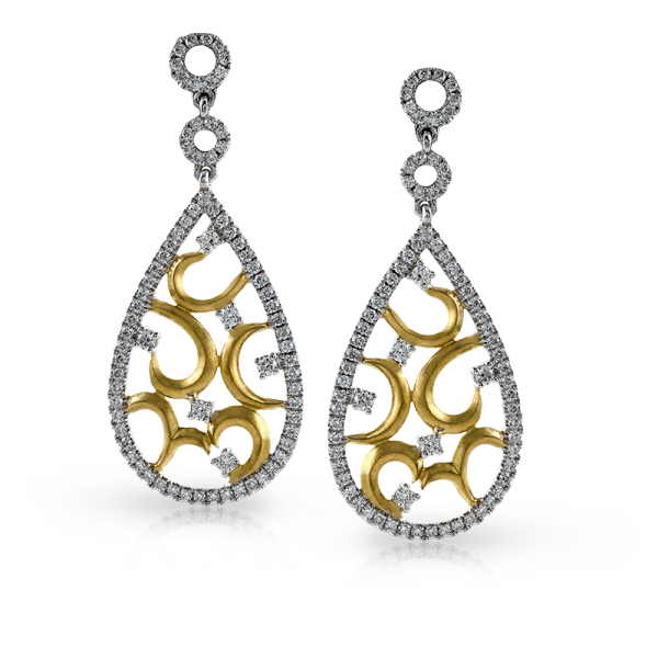 Zeghani 14K Yellow & White Gold Lace Droplet Earrings image 2