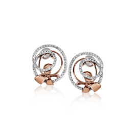 Zeghani 14K White & Rose Gold Stud Earrings With Rose Gold Bow image 2