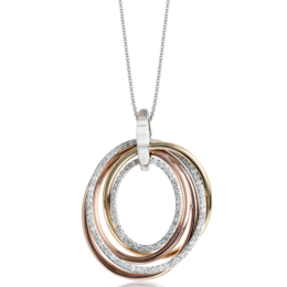 Zeghani 14K Three-Tone Yellow, Rose & White Gold Round Diamond Pendant image 2