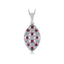 Zeghani 14K White Gold Ruby & Diamond Pendant image 2