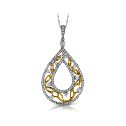 Zeghani 14K Two-Tone Yellow & White Gold Water Droplet Pendant image 2