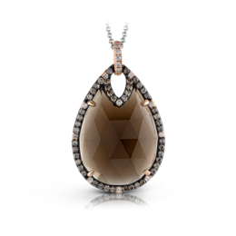 Zeghani 14K Rose & Black Gold Smoky Quartz Pendant image 2