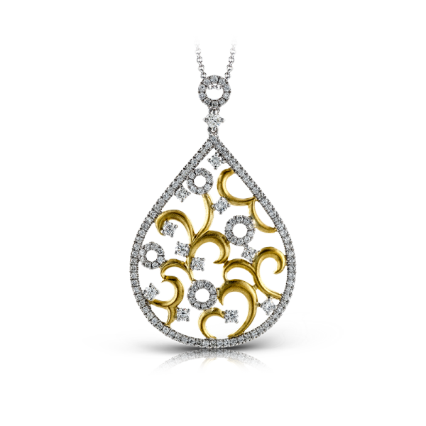 Zeghani 14K Two-Tone Yellow & White Gold Pendulum Pendant image 2