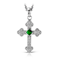 Zeghani 14K White Gold Cross Pendant with Emerald Center Stone image 2