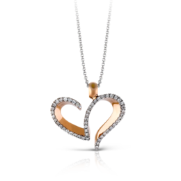 Zeghani 14K Rose & White Gold Heart Shaped Diamond Pendant image 2