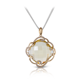 Zeghani 14K Yellow Gold Lemon Quartz & Diamond Pendant image 2
