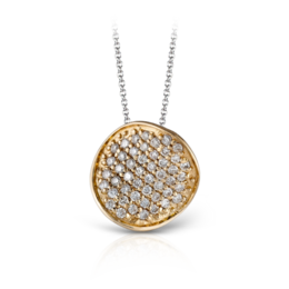 Zeghani 14K Yellow Gold Disc Pendant With Pave Set Diamonds image 2
