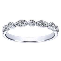 Stylish 14K White Gold Polenza Wedding Band