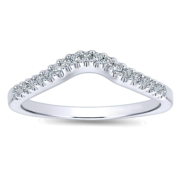 14K White Gold Curved Polenza Wedding Band