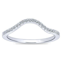 14K White Gold Curved Wedding Band By Polenza
