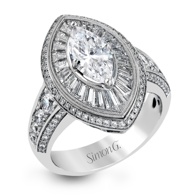 Simon G 18K White Gold Exquisite Marquise- Shaped Diamond Engagement Ring image 2