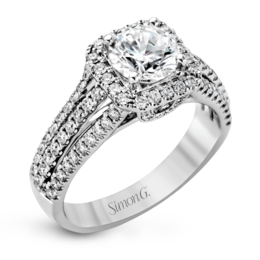 Simon G 18K White Gold Dramatic Contemporary Diamond Engagement Ring image 2