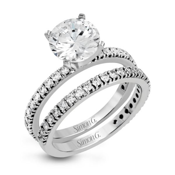 Simon G 18K White Gold Beautiful Diamond Wedding Set image 2