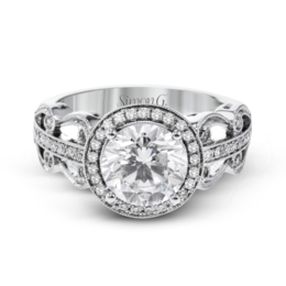 Simon G 18K White Gold Vintage-Inspired Diamond Engagement Ring image 2