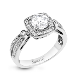 Simon G 18K White Gold Distinctive Design & Square Halo Engagement Ring image 2