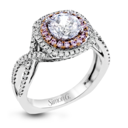 Simon G 18K Rose & White Gold Lovely Halo Diamond Engagement Ring image 2