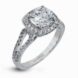 Simon G 18K White Gold Dazzling Halo & Split Shank Engagement Ring image 2