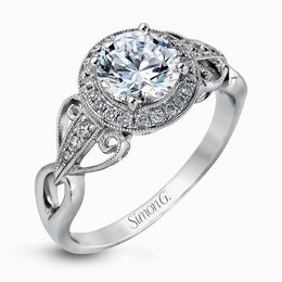 Simon G 18K White Gold Romantic Design Diamond Engagement Ring image 2