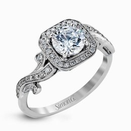 Simon G 18K White Gold Elegant Design Diamond Engagement Ring image 2