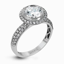 Simon G 18K White Gold Classically-Styled Circular Halo Engagement Ring image 2