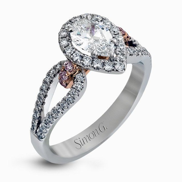 Simon G 18K White & Rose Gold Pear-Shaped Halo Split Shank Engagement Ring image 2
