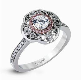 Simon G 18K White & Rose Gold Intricate Vintage Inspired Engagement Ring image 2