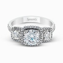 Simon G 18K White Gold Dramatic Round Diamond Engagement Ring image 2