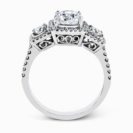 Simon G 18K White Gold Dramatic Round Diamond Engagement Ring image 3