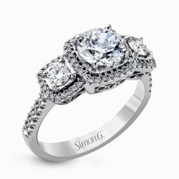 Simon G 18K White Gold Dramatic Round Diamond Engagement Ring image 1
