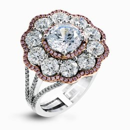 Simon G 18K White & Rose Gold Dramatic Floral Cluster Engagement Ring image 2