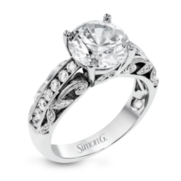 Simon G 18K White Gold Filigree & Leaves Design Diamond Engagement Ring image 1