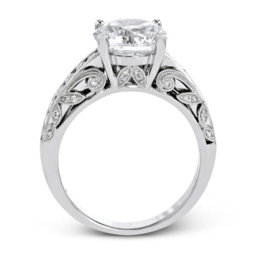 Simon G 18K White Gold Filigree & Leaves Design Diamond Engagement Ring image 2