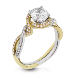 Simon G 18K White & Yellow Gold Twisting Design Engagement Ring image 2