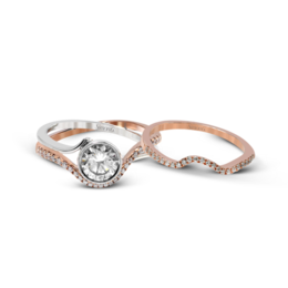 Simon G 18K White & Rose Gold Crisscrossing Design Modern Wedding Set image 2