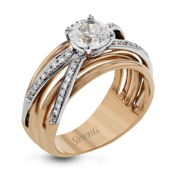 Simon G 18K White & Rose Gold Modern Diamond Engagement Ring image 2