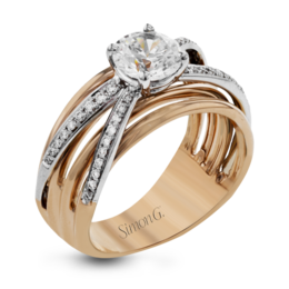 Simon G 18K White & Rose Gold Modern Diamond Engagement Ring image 1