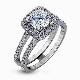 Simon G 18K White Gold Eye-Catching Design Diamond Engagement Ring image 1
