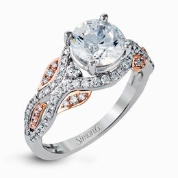 Simon G 18K Rose & White Gold Dramatic Contemporary Engagement Ring image 1