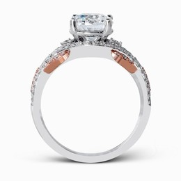 Simon G 18K Rose & White Gold Dramatic Contemporary Engagement Ring image 2