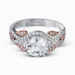 Simon G 18K Rose & White Gold Dramatic Contemporary Engagement Ring image 3