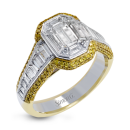 Simon G 18K White & Yellow Gold Geometric Diamond Mosaic Engagement Ring image 1