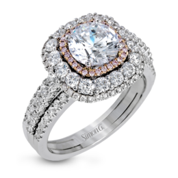 Simon G 18K White & Rose Gold Bold Design Diamond Engagement Ring image 2