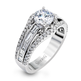 Simon G 18K White Gold Elegant Baguette Shaped Diamond Engagement Ring image 2