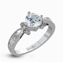 Simon G 18K White Gold Spectacular Diamond Engagement Ring image 2