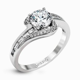 Simon G 18K White Gold Swirled Halo Diamond Engagement Ring image 2